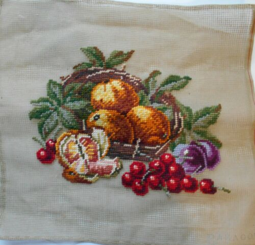 """Needlepoint Canvas Fruit Picture Design Is Complete -Not The Background 13"""" x13"""""""