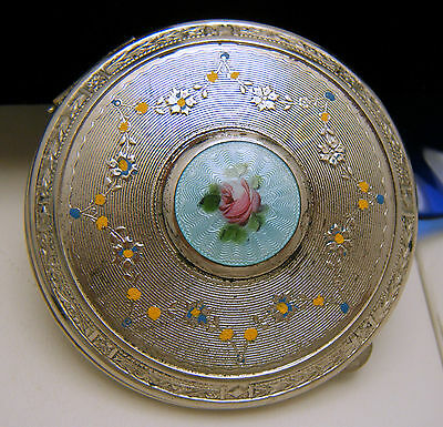 Vintage Blue Pink Rose Guilloche Enamel Compact With Puff on Lookza
