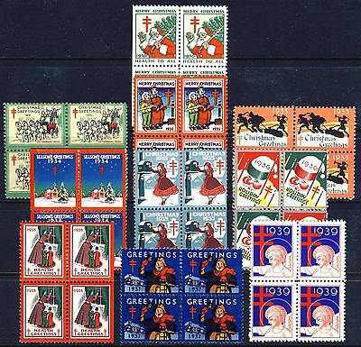 1930-1939 USA Christmas Seals . 10 Blocks of 4 . Mint Never Hinged