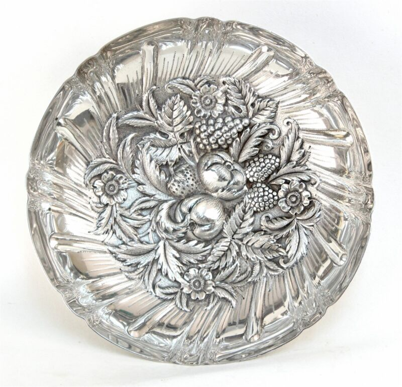 """Kirk Sterling #233 Repousse 9 1/2"""" Footed Fruit Bowl"""