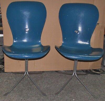 (2) Vintage 70's AMERICAN DESK CORP Gideon Kramer Designer ION Chair BLUE J65