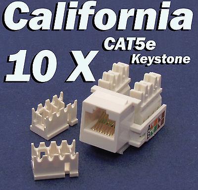 10 X Pcs lot Keystone Jack CAT5e Network Ethernet 110 Style Punch Down 8P8C RJ45