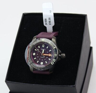 NEW AUTHENTIC VICTORINOX SWISS ARMY DIVE MASTER PURPLE SILICONE MEN 241558 WATCH