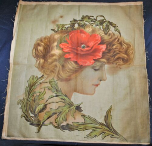 Antique Chromolithograph Picture On Linen Canvas, Pillow Top Cover, 1910 Artwork