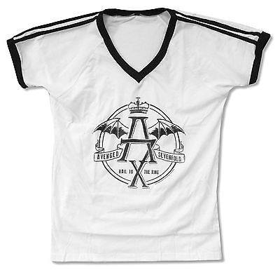Avenged Sevenfold Crown Girls Juniors White V-Neck Soccer T Shirt New Official
