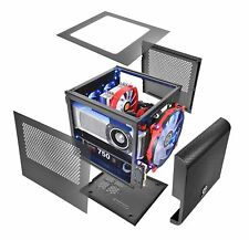 Gaming Cube Computer PC Case ATX Mid Tower,Tempered Glass 4 RGB LED Cooling Fan