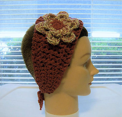 Headband/wrap--Country Red/Matching variegated Flower--cotton--Hand Crochet-OOAK ()