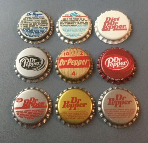 9 Dr Pepper soda bottle caps 9 different 8 plastic 1 cork lined unused