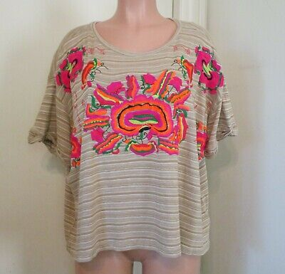 FREE PEOPLE BEIGE STRIPED MULTI COLOR FLORAL EMBROIDERED SHORT SLEEVE TOP, L