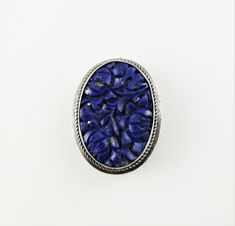 Vintage Sterling Silver Chinese Carved Lapis Brooch Clip #7612