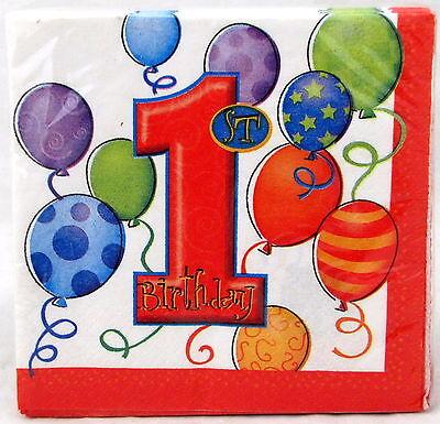 First Birthday Boy Girl Red Beverage Napkins 10 in 16 Ct 2 Ply Party 1st Napkin - First Birthday Napkins