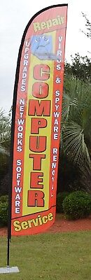 Computer Repair Feather Swooper Business Flag Banner Advertising Windless New