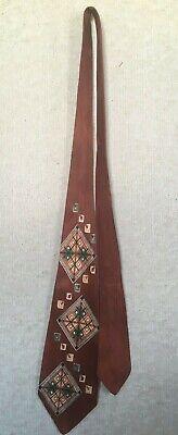 1940s Mens Ties | Wide Ties & Painted Ties Vintage 1940s Rust, Green and Beige Patterned Tie by Metcalf Cravats $30.00 AT vintagedancer.com