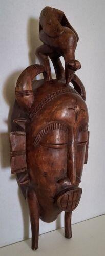 Vintage Senufo African  Wood Face Mask Hand Carved Tribal Art