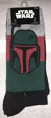 Star Wars Boba Fett Crew Socks 2 Pair Mens 6-12 NEW! Jedi Awakens Bounty Hunter
