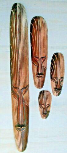 TIKI MASK WOOD HAWAIIAN AFRICAN MASKS HOME DECOR TRIBAL BAR POLYNESIAN SET / 4