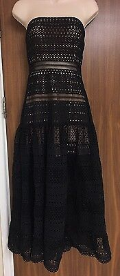 SELF-PORTRAIT STRAPLESS GEOMETRIC-LACE DRESS SIZE UK 10](Geometric Portrait)