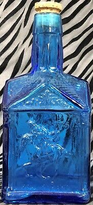 1 Blue Glass Paul Revere 1775 Pancake Syrup Bottle 16oz. Wheaton NJ (empty)