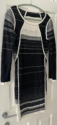 IVANKA TRUMP BLACK WHITE STRIPE BODYCON STYLE DRESS MEDIUM APPROX UK 12