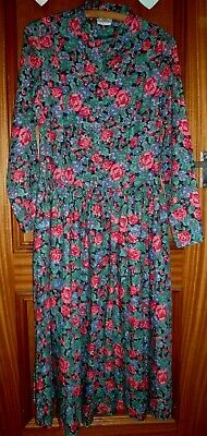 LAURA ASHLEY vintage 1970s floral print brushed cotton romantic dress 12 exc cdt