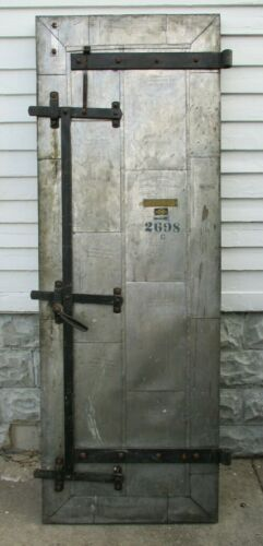 Antique 1928 Industrial Boiler Room Fire Clad Door w/ Hardware & Counter Weight
