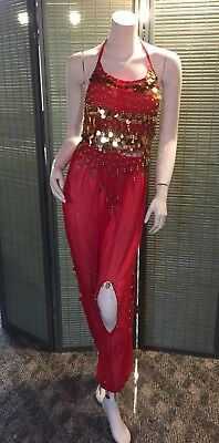 Red Sheer Embellished Crocheted Padded Halter Genie Halloween Costume Small
