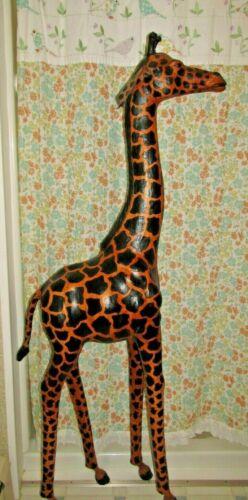 "Giraffe Statue Leather  64 "" Tall! Large Safari Animal WARNING READ DESCRIPTION"