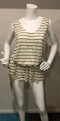 New With Tags GAP Belted Striped Henley Tank Top Tunic WOMEN Green Ivory Large