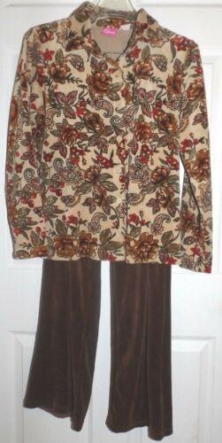 Pappagallo S brown velour print pantset elastic waist 28in. inseam EUC