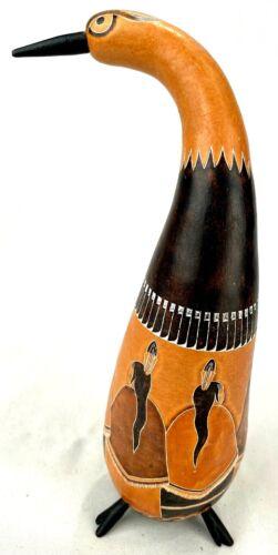 "Carved Gourd-Wood Burn/Carve-Rattle Shaker-Signed-Bird Efigy-9""-Indian Circle"