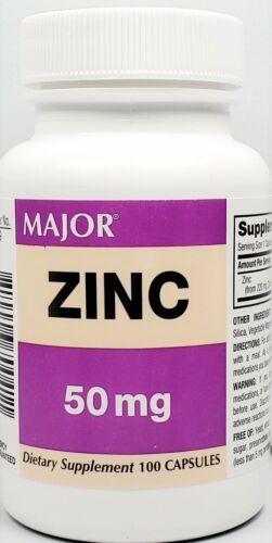 Major Zinc 50 mg 100 Capsules Each -Expiration Date 06-2021