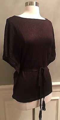 Nwt  94 White House Black Market Belted Tassel Poncho Sweater Cocoa Bronze S