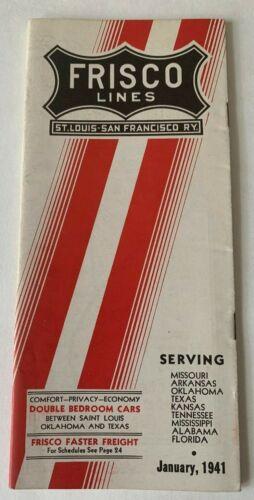 Vintage 1941 Frisco Lines St Louis San Francisco Ry Railroad Timetable brochure