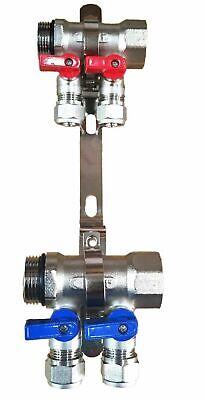 1 2-loopport Ball Valve Brass Pex Manifold For 12 Pex Tubing W Brackets