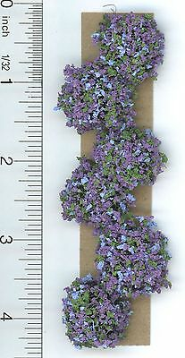 Dollhouse Miniature 1:12 Scale Set of 6 Landscaping Bushes w/Purple & Blue Fl...