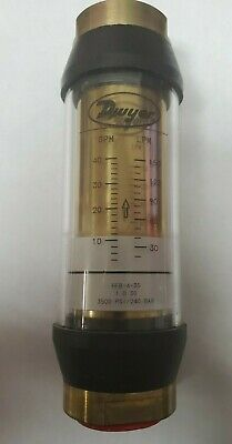 Dwyer Hfb-4-35 In-line Flow Meter 5 To 35 Gpm Water With 1 Npt Brass Body