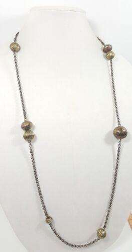 Vtg Stunning Estate Necklace Chain Silver/Brass Tone Metal Beads Modern 4971 - $14.99