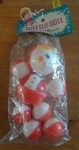 Vintage SANITOY RATTLE DOLL - New in package Sealed hang card, NOS NIP