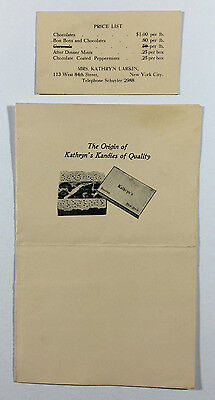 Kathryns Kandies of Quality Brochure Price List Vintage NYC Candy Store Ephemera - Candy Store Nyc