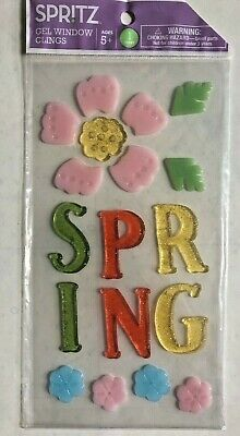 Spring Window Gel Sticker Cling Decorations with flowers classroom decor  - Spring Classroom Decorations