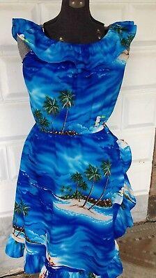 Casual Wear Ruffled Dress Size 14 Palms Diamond Head Blue Beach Aloha  for sale  Shipping to India