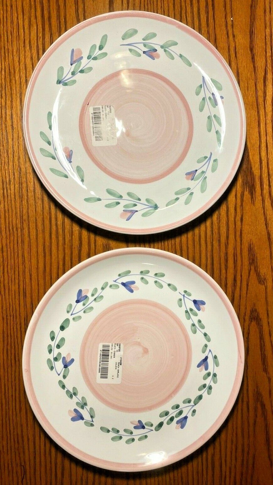 Caleca Set Of 2 Unused Peach Garland Dinner Plates, Made In Italy, Hand Painted - $32.95