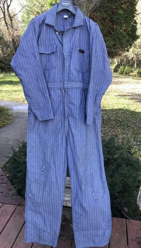 VTG Denim Coveralls Paul Bunyan Union Made Sanfordized 100% Cotton, Men's Sz 46