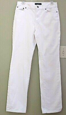 Lauren Ralph Lauren Women 6 White Jeans Straight Classic Stretch ()