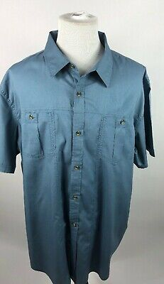 023003c3 Magellan Men's 3XL Loose Fit Blue Short Sleeve Button Down Shirt Wit  Magshield