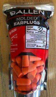 50 Pair Allen Molded Foam Ear Plugs Hearing Protection Hunting Nrr 32 Db