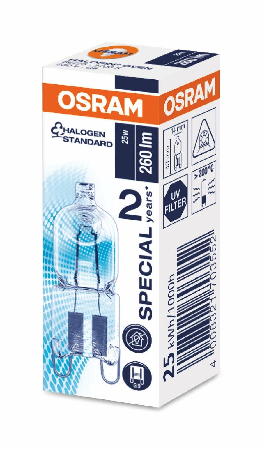 Osram 66725 Backofenlampe 25 Watt Halogenlampe Halopin Oven G9 230V 25W 260lm