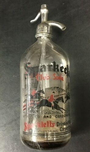 Vintage Seltzer Bottle Sparkeeta Club Soda Sparkletts Siphon Glass Seltzer LA CA