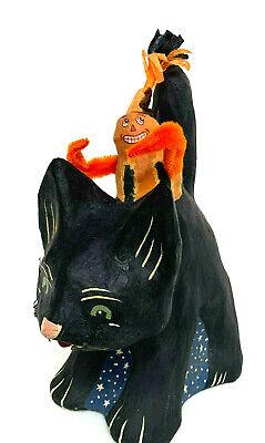 Bethany Lowe Ginny Betoune Trout Creek Black Cat Pumpkin Ride Halloween Figurine