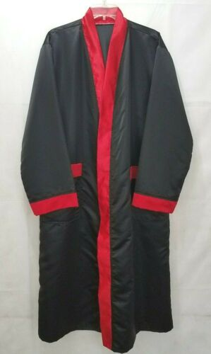 Satin Bath Robe w/ Belt Black & Red Mens Size Large 1970